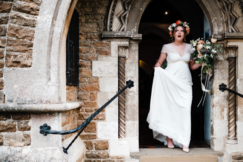 Bride Bridal Gown Dress Laure de Sazagan Lace Cap Sleeve V Neck Flower Crown Bouquet Cantley House Hotel Wedding Ross Hurley Photography