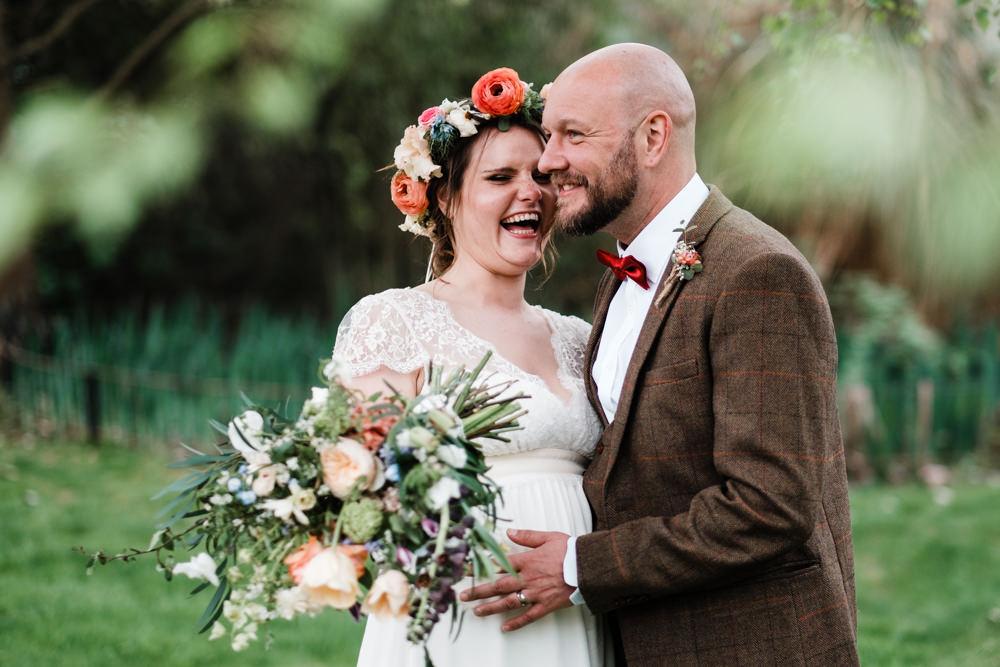 Bride Bridal Gown Dress Laure de Sazagan Lace Cap Sleeve V Neck Tweed Groom Flower Crown Bouquet Cantley House Hotel Wedding Ross Hurley Photography