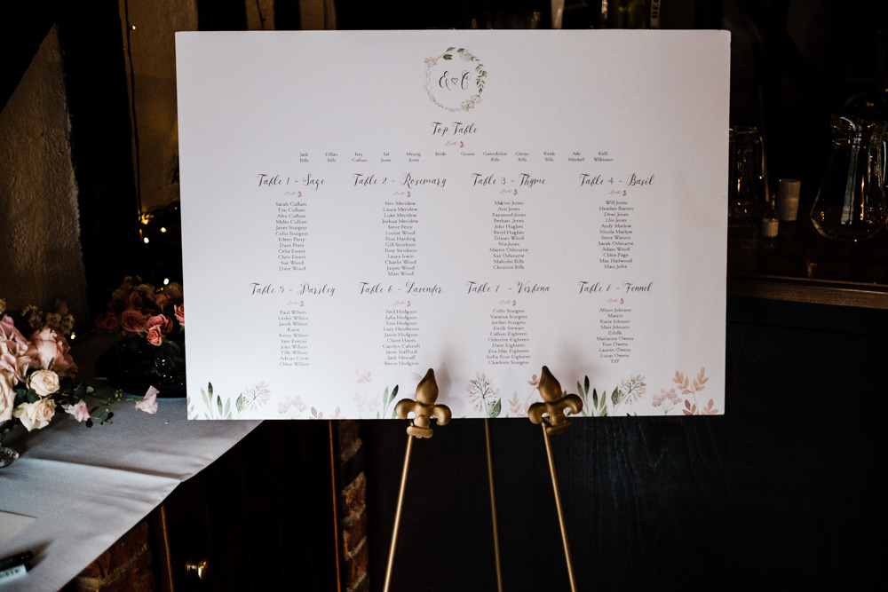 Table Plan Seating Chart Modern Calligraphy Wreath Cantley House Hotel Wedding Ross Hurley Photography