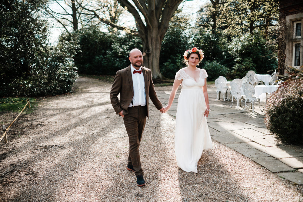 Bride Bridal Gown Dress Laure de Sazagan Lace Cap Sleeve V Neck Tweed Groom Bow Tie Flower Crown Cantley House Hotel Wedding Ross Hurley Photography