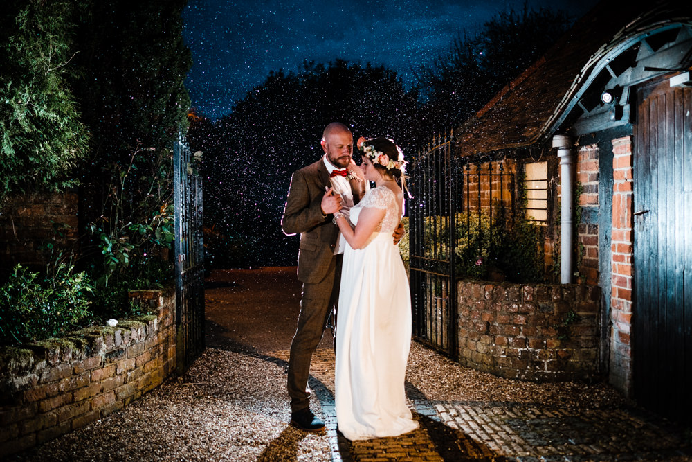Bride Bridal Gown Dress Laure de Sazagan Lace Cap Sleeve V Neck Tweed Groom Flower Crown Rainy Cantley House Hotel Wedding Ross Hurley Photography