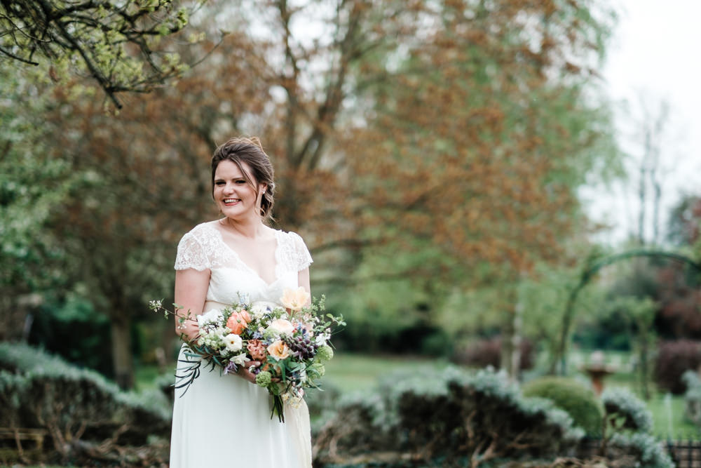Bride Bridal Gown Dress Laure de Sazagan Lace Cap Sleeve V Neck Bouquet Cantley House Hotel Wedding Ross Hurley Photography