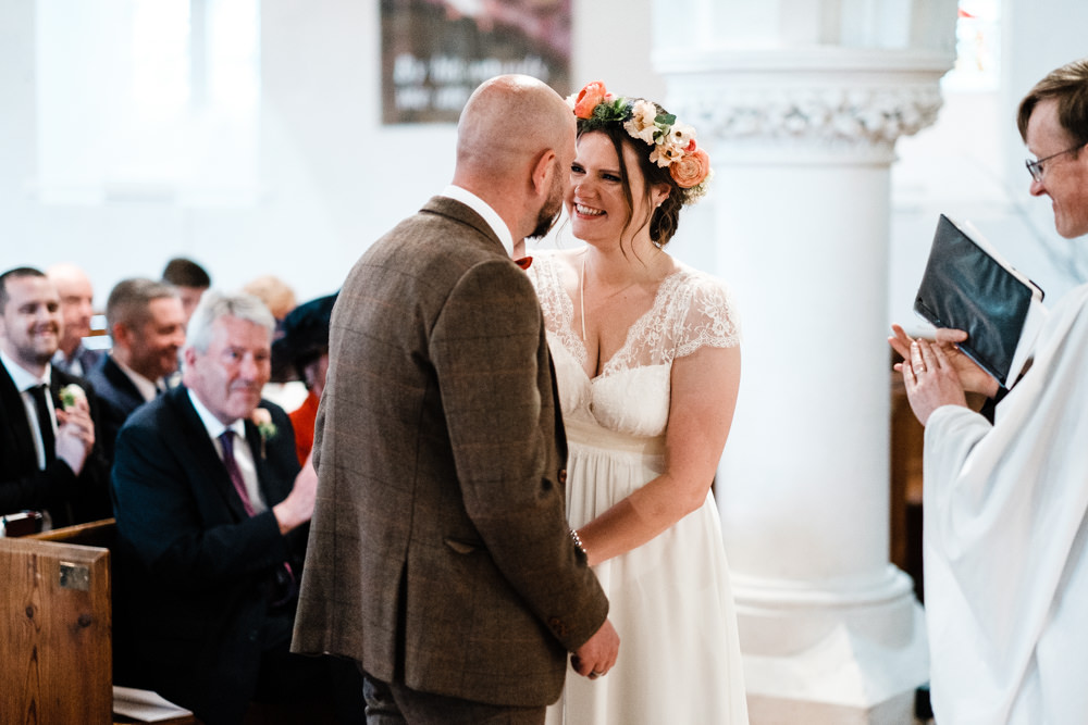 Bride Bridal Gown Dress Laure de Sazagan Lace Cap Sleeve V Neck Tweed Groom Flower Crown Cantley House Hotel Wedding Ross Hurley Photography