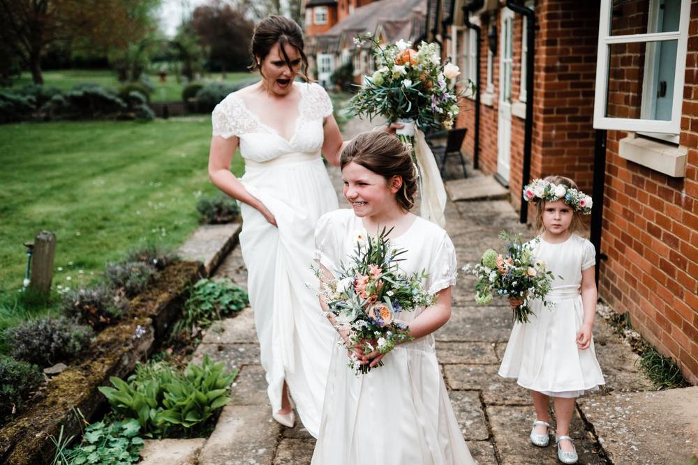 Bride Bridal Gown Dress Laure de Sazagan Lace Cap Sleeve V Neck Bouquet Flower Girls Crown Cantley House Hotel Wedding Ross Hurley Photography
