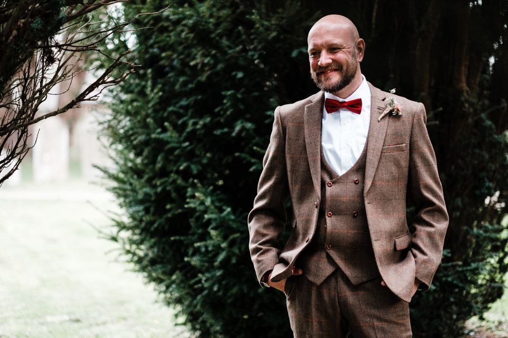 Tweed Groom Three Piece Waistcoat Bow Tie Cantley House Hotel Wedding Ross Hurley Photography