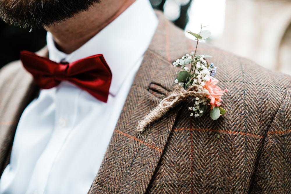 Groom Buttonhole Boutonnière Twine Gypsophila Cantley House Hotel Wedding Ross Hurley Photography