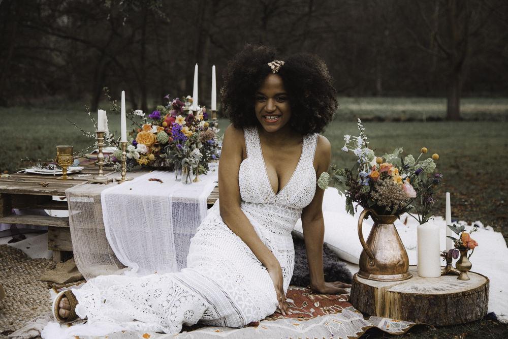 Bride Bridal Crochet Dress Gown Colourful Boho Festival Wedding Ideas Ella Violet Photography