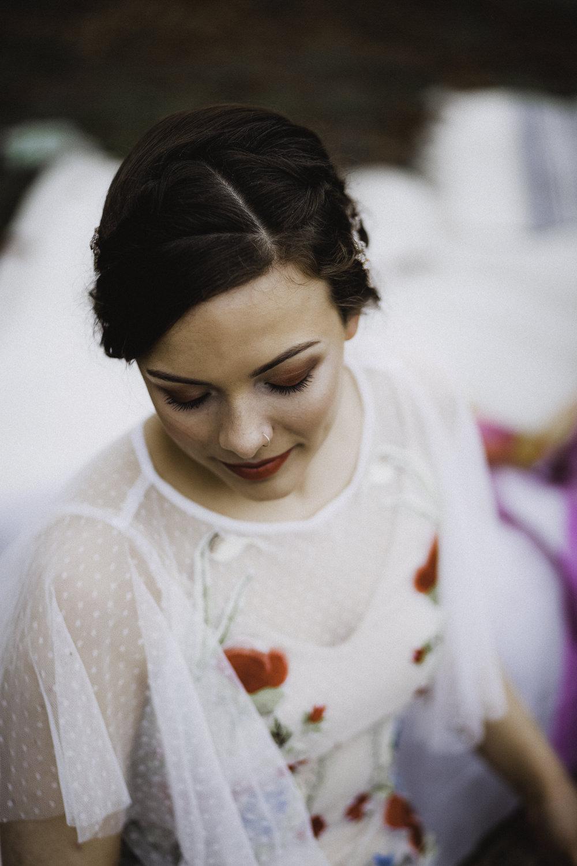 Make Up Hair Bride Bridal Style Beauty Colourful Boho Festival Wedding Ideas Ella Violet Photography