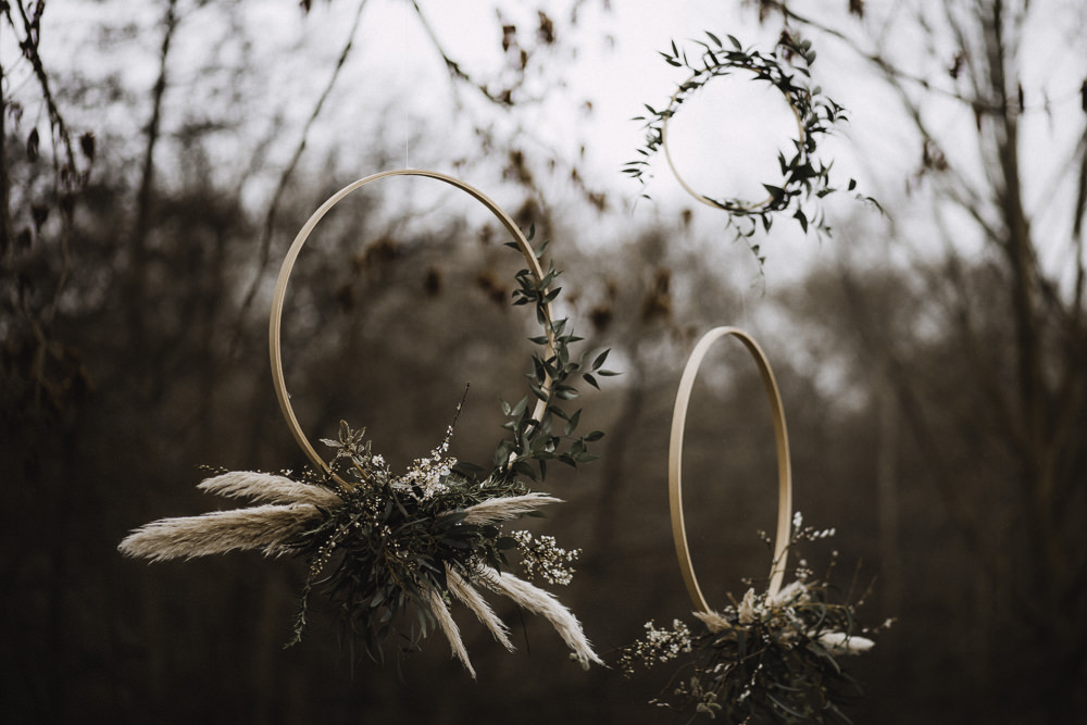 Hanging Wooden Hoops Flowers Greenery Pampas Grass Colourful Boho Festival Wedding Ideas Ella Violet Photography