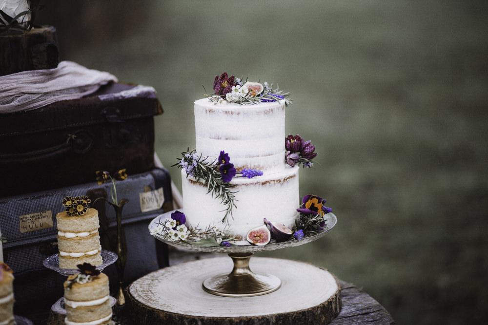 Semi Naked Buttercream Cake Flowers Colourful Boho Festival Wedding Ideas Ella Violet Photography