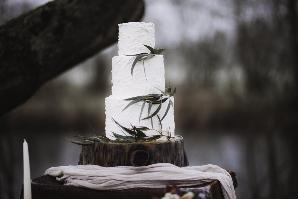 Rustic Buttercream Cake Log Stand Greenery Colourful Boho Festival Wedding Ideas Ella Violet Photography