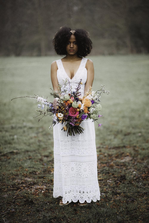 Bride Bridal Crochet Dress Gown Bouquet Flowers Bride Bridal Rose Craspedia Thistle Hellebore Astilbe Colourful Boho Festival Wedding Ideas Ella Violet Photography
