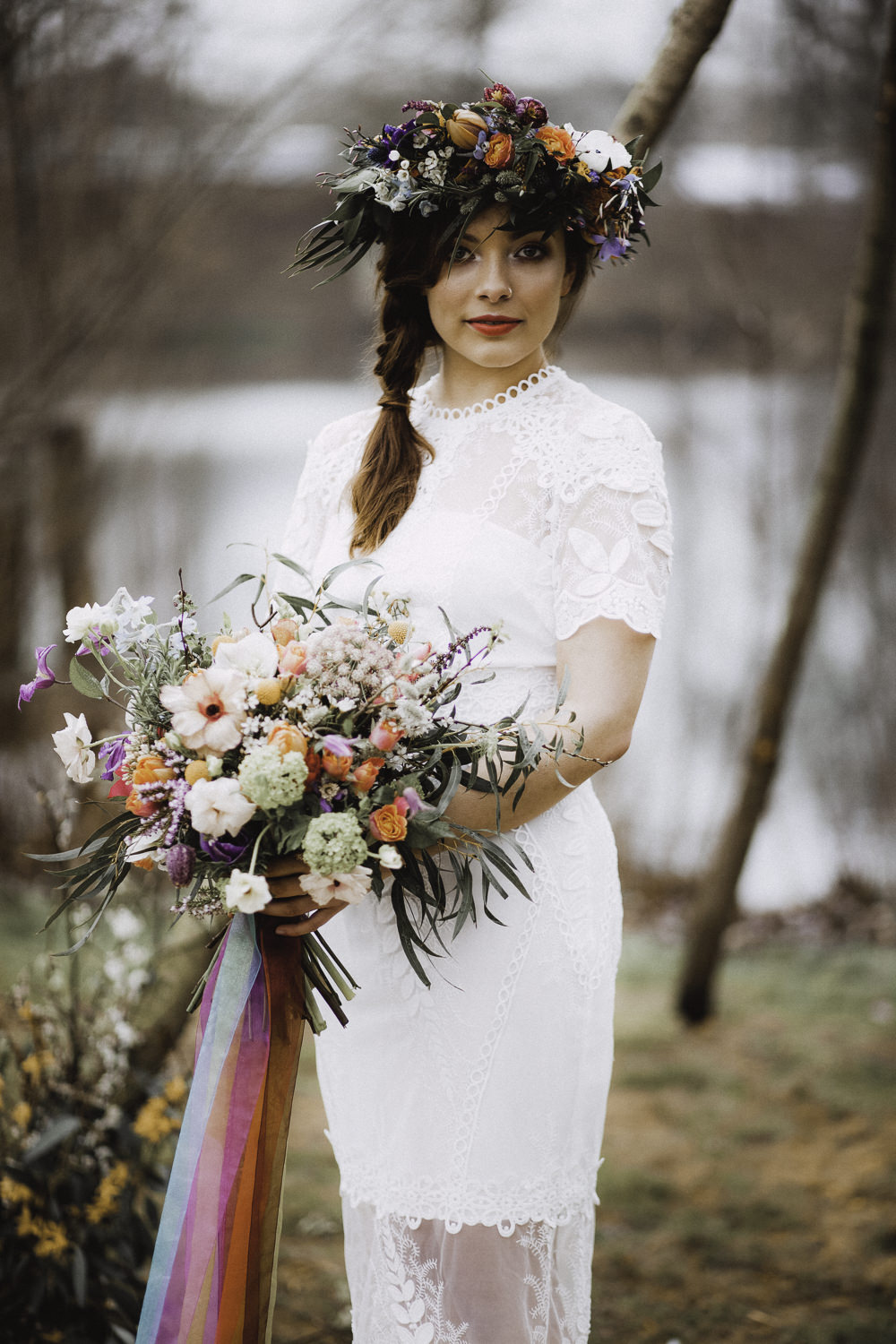 Bouquet Flowers Bride Bridal Rose Craspedia Thistle Hellebore Astilbe Ribbons Colourful Boho Festival Wedding Ideas Ella Violet Photography