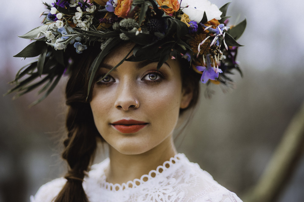 Make Up Hair Bride Bridal Style Beauty Flower Crown Colourful Boho Festival Wedding Ideas Ella Violet Photography