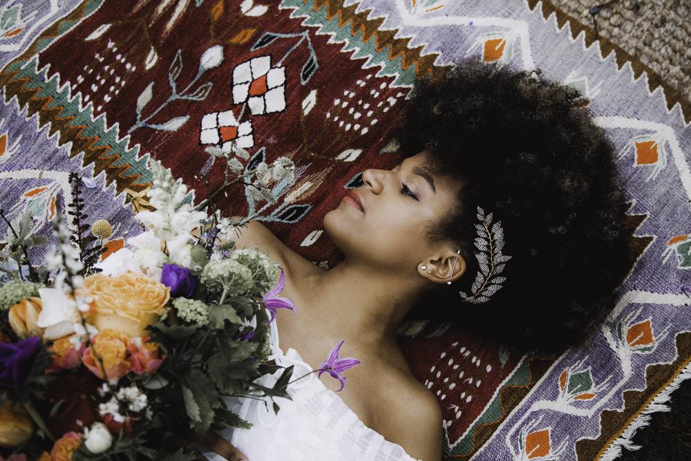 Make Up Hair Bride Bridal Style Beauty Leaf Accessory Colourful Boho Festival Wedding Ideas Ella Violet Photography
