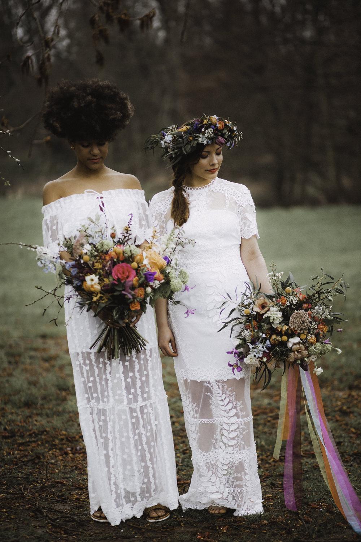 Bouquet Flowers Bride Bridal Rose Craspedia Thistle Hellebore Astilbe Colourful Boho Festival Wedding Ideas Ella Violet Photography