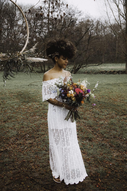 Off Shoulder Bride Bridal Dress Sheer Gown Colourful Boho Festival Wedding Ideas Ella Violet Photography