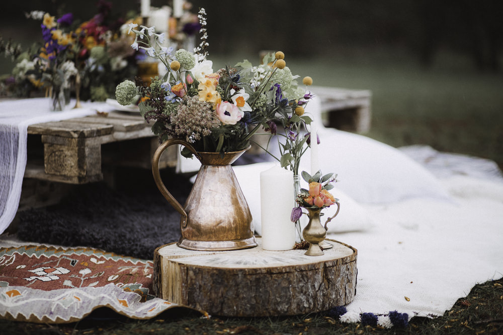 Copper Jug Flowers Log Slice Colourful Boho Festival Wedding Ideas Ella Violet Photography