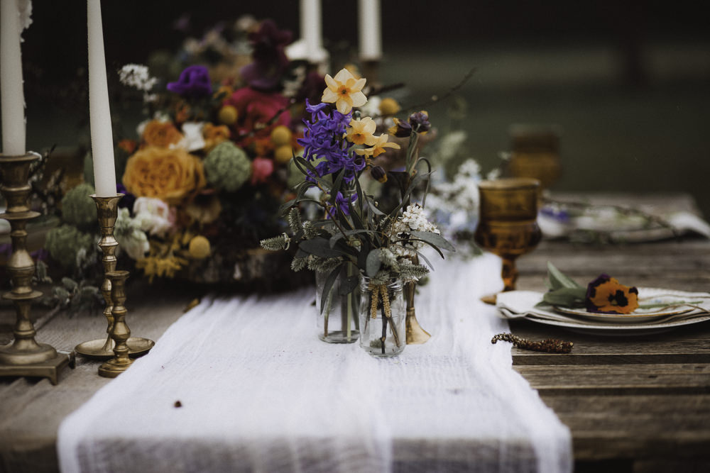 Jar Flowers Colourful Boho Festival Wedding Ideas Ella Violet Photography