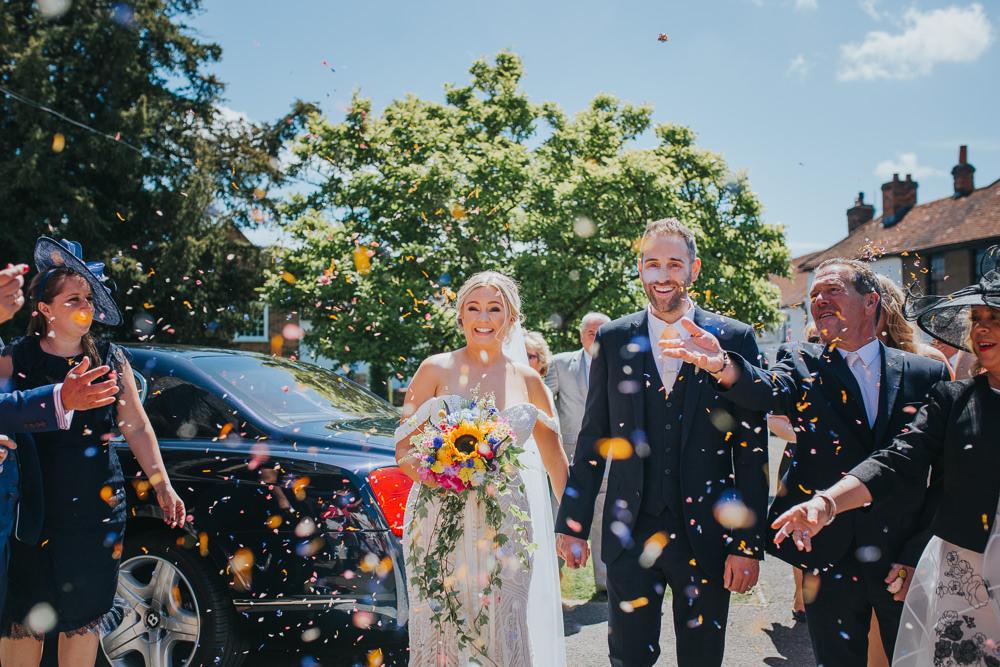 Confetti Throw Colourful Bright Summer Pub Wedding Charlotte Razzell Photography