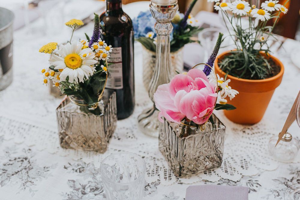 Bottle Jar Flowers Daisy Peony Lace Cloth Table Decor Colourful Bright Summer Pub Wedding Charlotte Razzell Photography