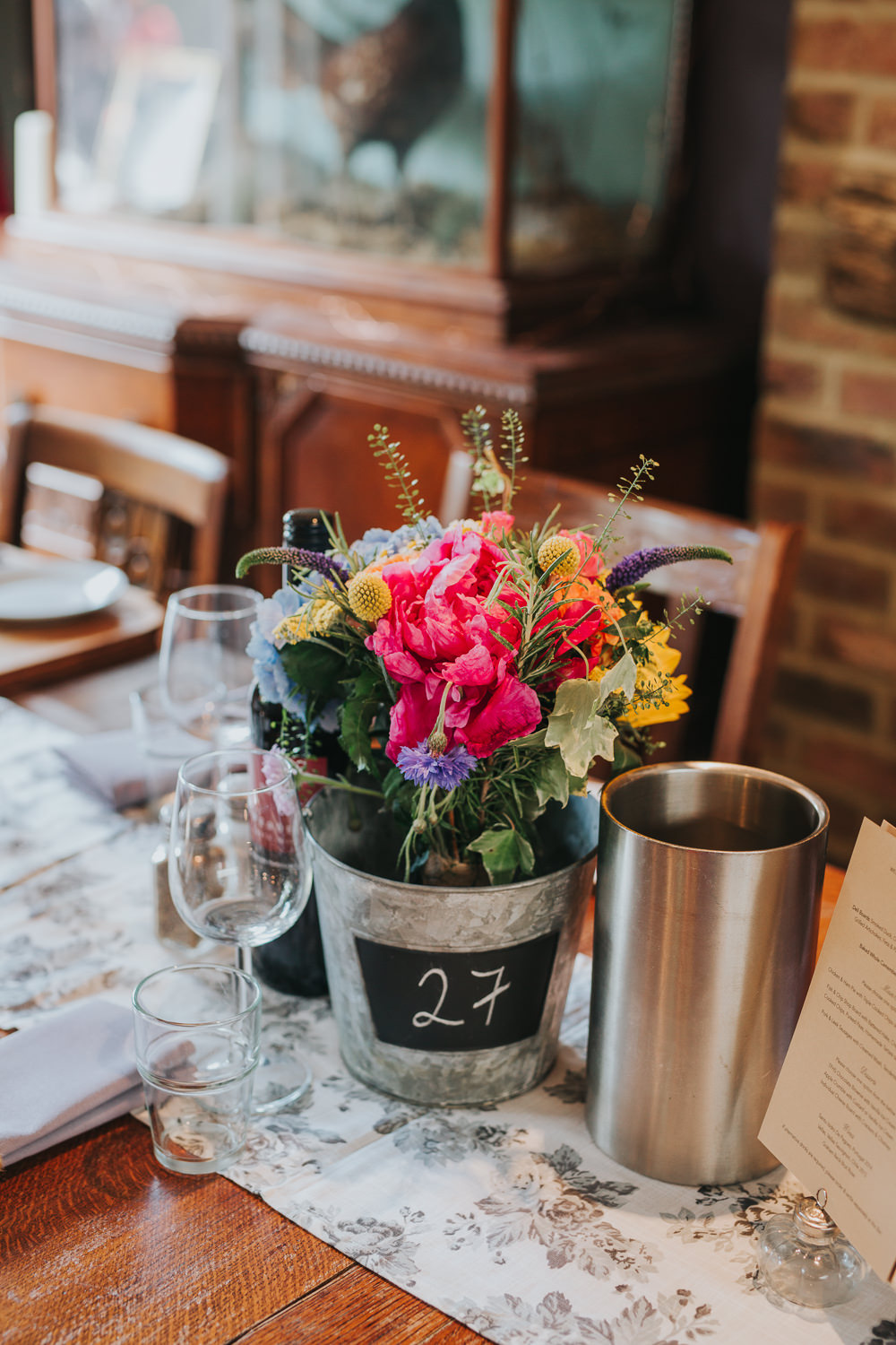 Bottle Jar Flowers Bucket Name Table Decor Colourful Bright Summer Pub Wedding Charlotte Razzell Photography