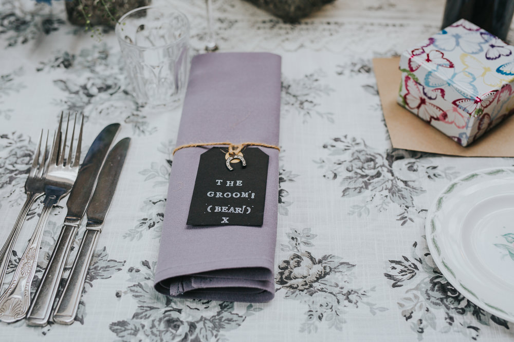 Napkin Twine Lilac Luggage Tag Colourful Bright Summer Pub Wedding Charlotte Razzell Photography
