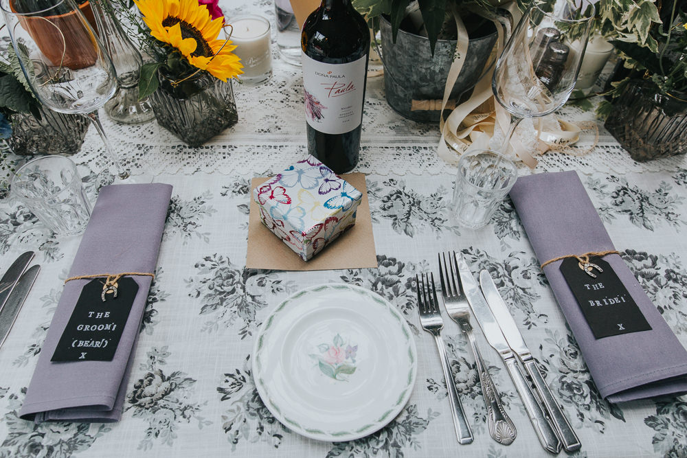 Floral Print Table Cloth Decor Colourful Bright Summer Pub Wedding Charlotte Razzell Photography