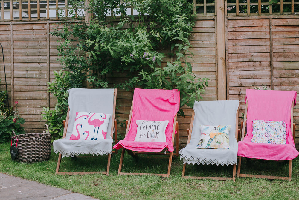 Deck Chair Seating Colourful Bright Summer Pub Wedding Charlotte Razzell Photography