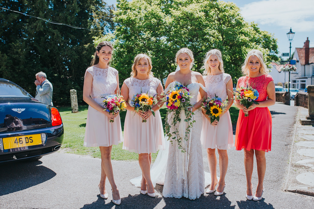 Short Pink Bridesmaid Dresses Colourful Bright Summer Pub Wedding Charlotte Razzell Photography