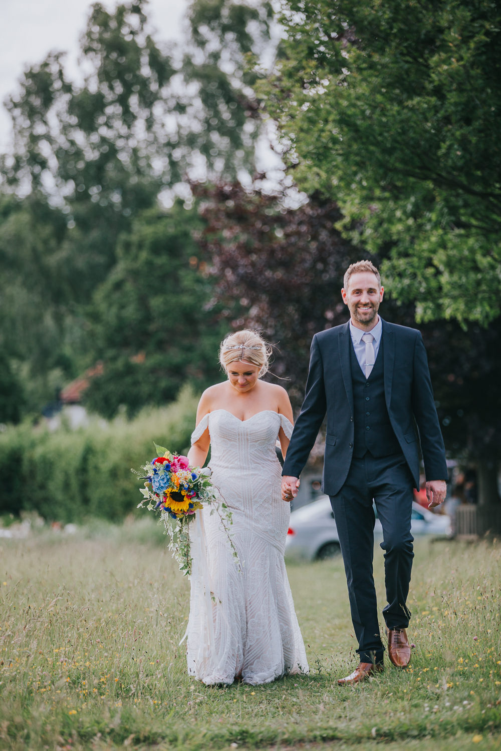 Off Shoulder Lace Dress Gown Bardot Veil Wtoo Bride Bridal Colourful Bright Summer Pub Wedding Charlotte Razzell Photography