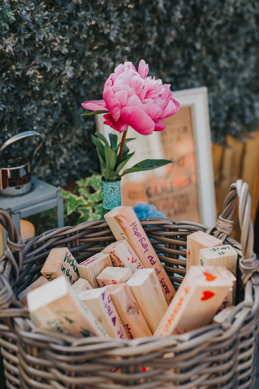 Jenga Guest Book Colourful Bright Summer Pub Wedding Charlotte Razzell Photography