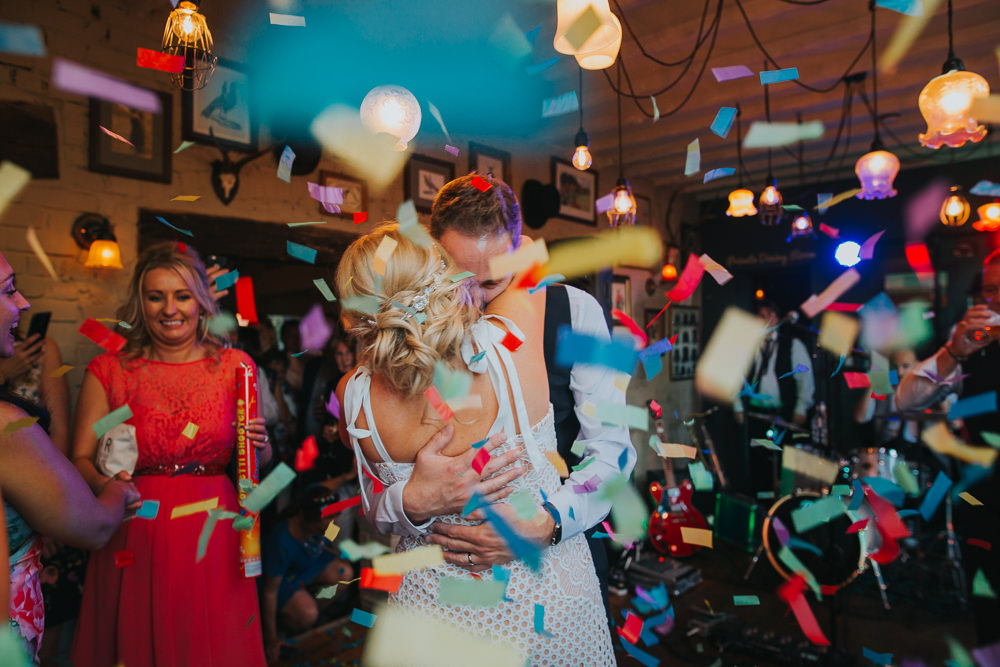 Confetti First Dance Cannon Colourful Bright Summer Pub Wedding Charlotte Razzell Photography