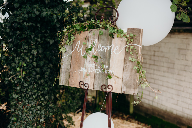 Rustic Wooden Sign Welcome Calligraphy Balloons Creative Hertfordshire Barn Boho DIY Wedding Beard and Mane Photography