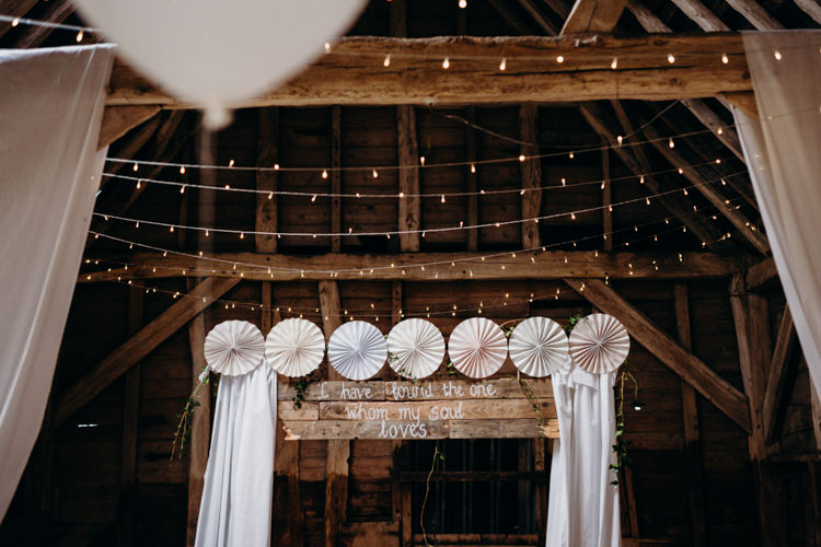 Decor Reception Venue Fairy Lights Pinwheel Backdrop Ceremony Creative Hertfordshire Barn Boho DIY Wedding Beard and Mane Photography