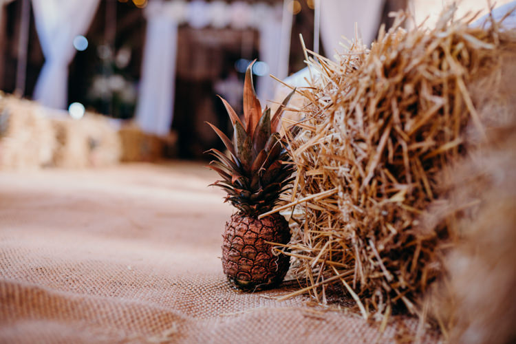 Pineapple Aisle Decor Creative Hertfordshire Barn Boho DIY Wedding Beard and Mane Photography