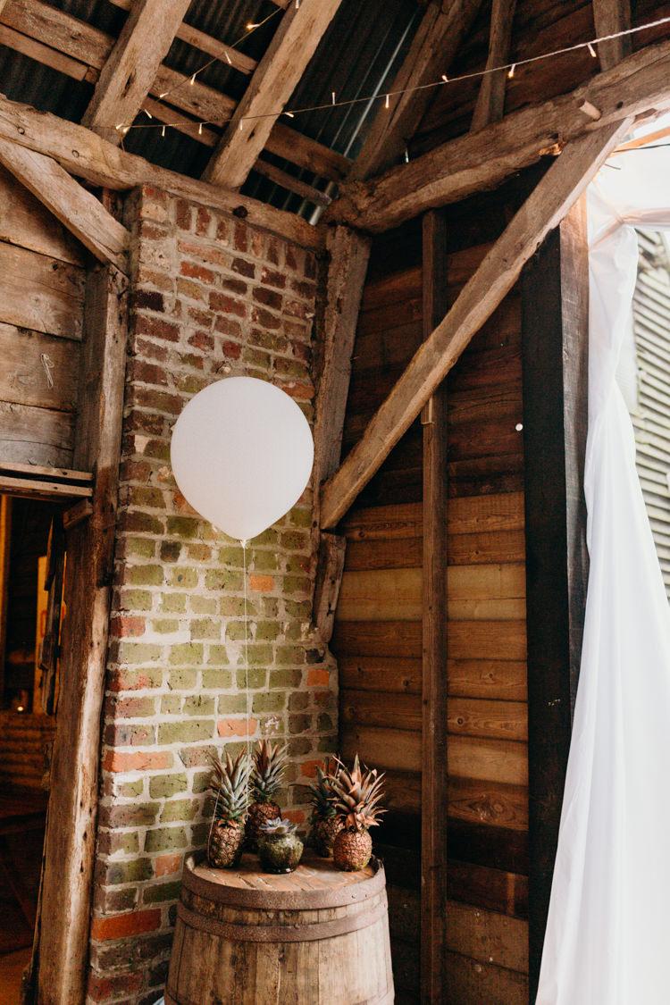 Pineapples Ballon Barrel Decor Creative Hertfordshire Barn Boho DIY Wedding Beard and Mane Photography