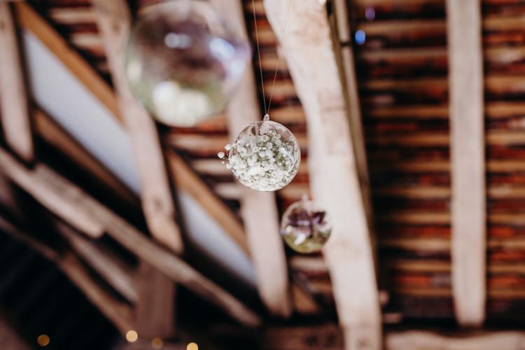 Hanging Flowers Baubles Creative Hertfordshire Barn Boho DIY Wedding Beard and Mane Photography