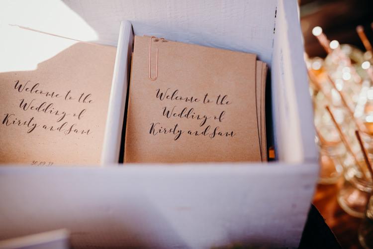 Stationery Order Service Calligraphy Brown Paper Creative Hertfordshire Barn Boho DIY Wedding Beard and Mane Photography