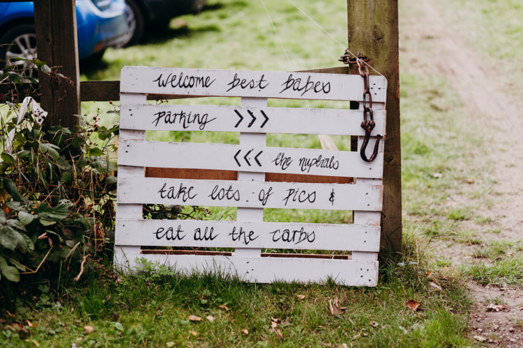 Rustic Wooden Sign Welcome Calligraphy Pallet Creative Hertfordshire Barn Boho DIY Wedding Beard and Mane Photography