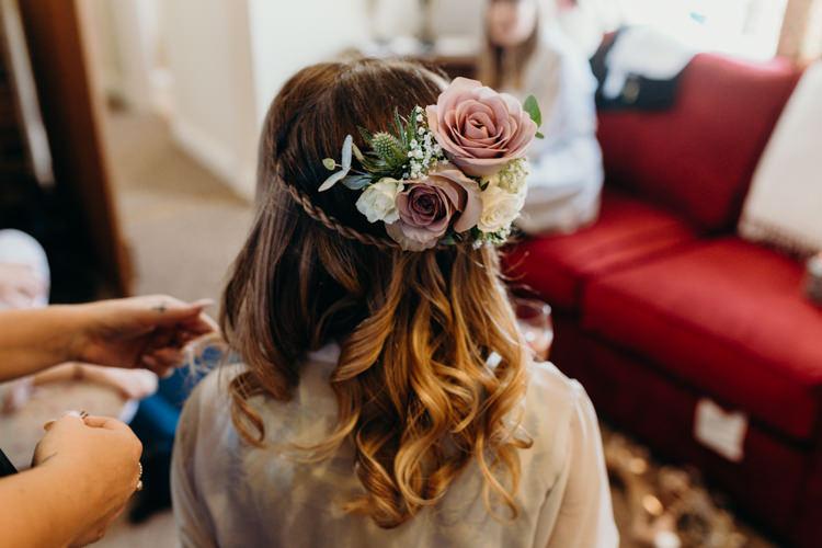 Hair Bride Bridal Plait Flowers Creative Hertfordshire Barn Boho DIY Wedding Beard and Mane Photography