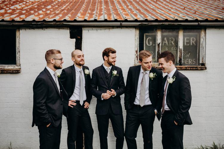 Groom Groomsmen Suits Black Grey Ties Creative Hertfordshire Barn Boho DIY Wedding Beard and Mane Photography