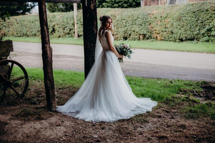Bride Bridal Dress Gown Seperates Skirt Top Creative Hertfordshire Barn Boho DIY Wedding Beard and Mane Photography
