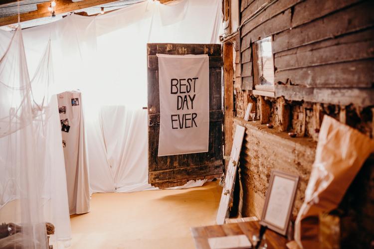 Best Day Ever Fabric Banner Creative Hertfordshire Barn Boho DIY Wedding Beard and Mane Photography