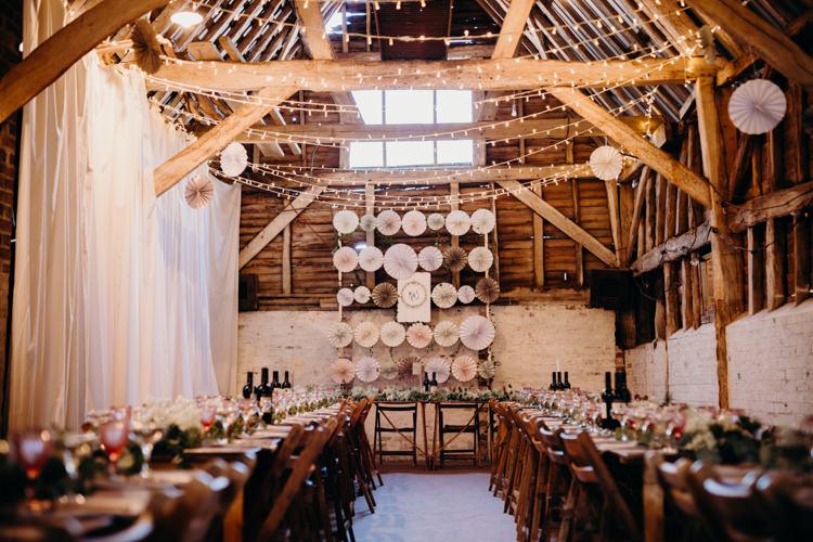 Decor Reception Venue Fairy Lights Pinwheel Backdrop Creative Hertfordshire Barn Boho DIY Wedding Beard and Mane Photography