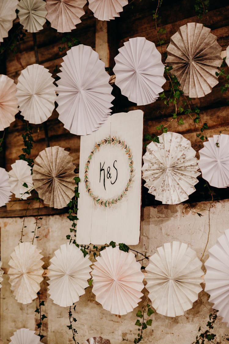 Decor Reception Pinwheel Backdrop Creative Hertfordshire Barn Boho DIY Wedding Beard and Mane Photography