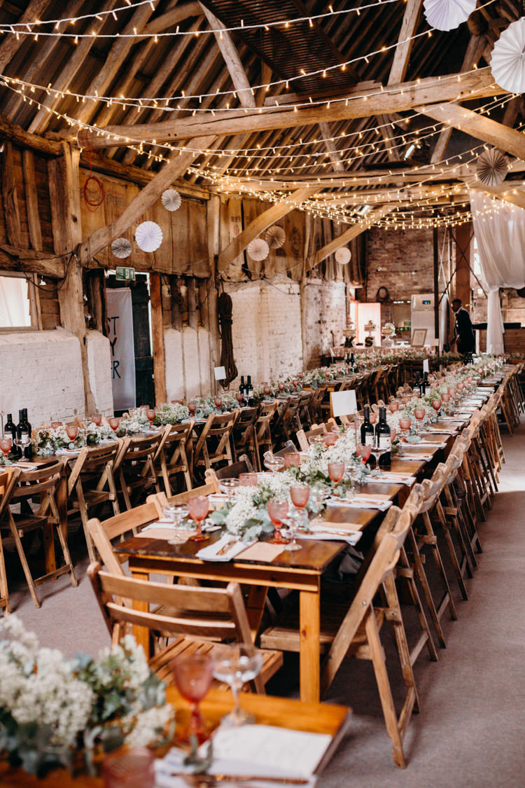 Fairy Lights Long Wooden Tables Decor Pinwheels Creative Hertfordshire Barn Boho DIY Wedding Beard and Mane Photography