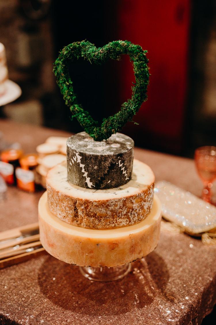 Cheese Cake Stack Tower Heart Topper Creative Hertfordshire Barn Boho DIY Wedding Beard and Mane Photography