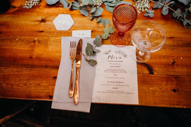Eucalyptus Copper Marble Decor Place Setting Creative Hertfordshire Barn Boho DIY Wedding Beard and Mane Photography