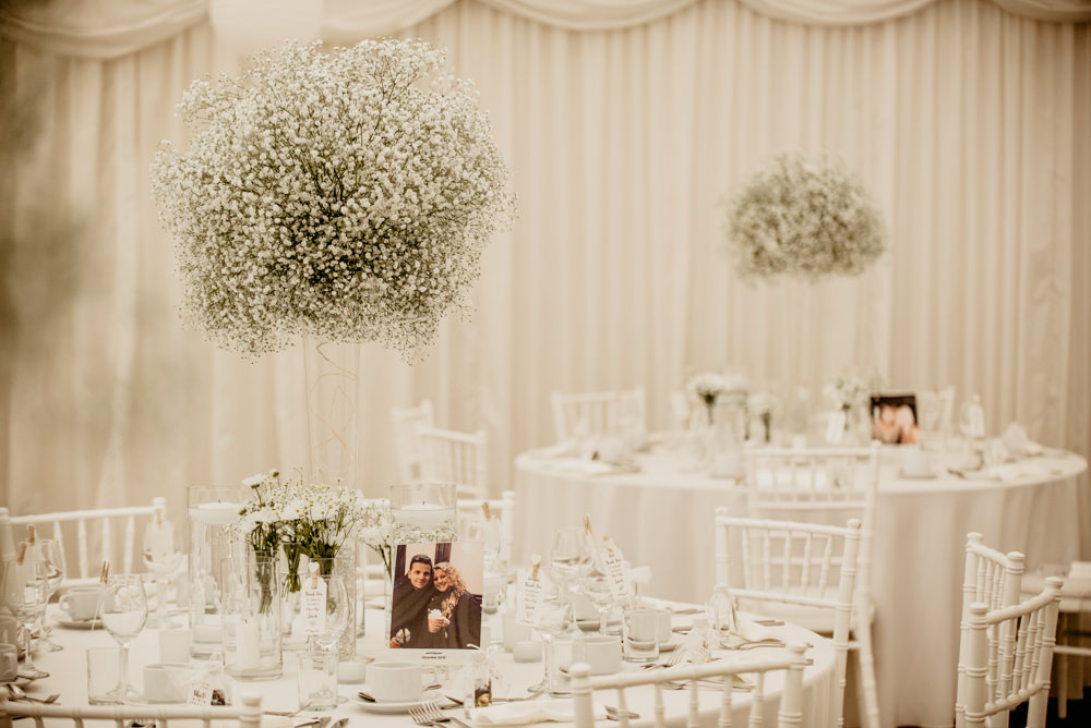 Gypsophila Flowers Tall Arrangements Centrepieces White Crow Hill Wedding Tim Simpson Photography